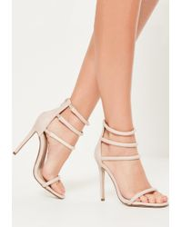 fc1520feaf8 Lyst - Missguided Nude Barely There Heeled Sandals in Natural