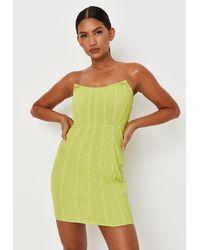 Missguided Lime Mesh Bandeau Corset Mini Dress - Green