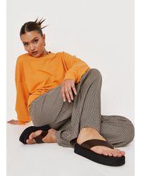 Missguided Thong Flatform Sandals - Brown