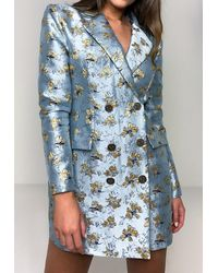 Missguided Robe blazer bleue à fleurs en Brocart