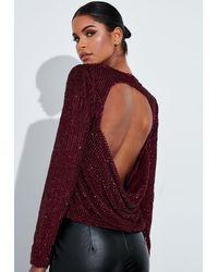 Missguided Burgundy Embellished Drape Back Top - Multicolour