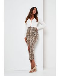 Missguided Snake Faux Leather Split Midi Skirt - Brown