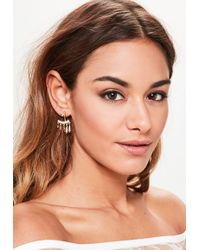Missguided - Gold Diamante Hanging Earrings - Lyst