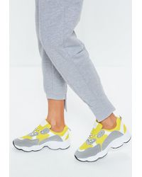 Missguided - Yellow Contrast Lace Chunky Sole Trainers - Lyst