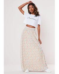Missguided Cream Floral Jersey Shirred Waist Maxi Skirt - Natural
