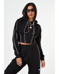 Missguided Roddy X Black Co Ord Contrast Pipe Corset Crop Hoodie