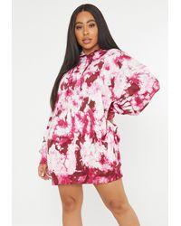 Missguided Plus Size Raspberry Tie Dye Hoodie Dress - Pink