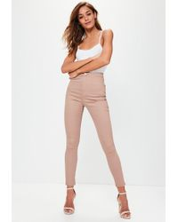 Missguided Vice High Waisted Skinny Jeans Camel - Multicolour