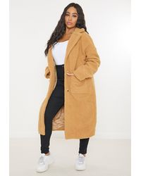 Missguided Plus Size Tan Oversized Long Borg Coat - Brown