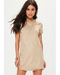Missguided | Petite Nude Faux Suede Tshirt Dress | Lyst