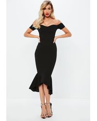 Missguided Black Bardot Fishtail Bodycon Midi Dress