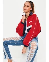 Missguided - Red Super Crop Mg Racing Jacket - Lyst