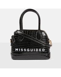 Missguided Croc Top Handle Bag - Black