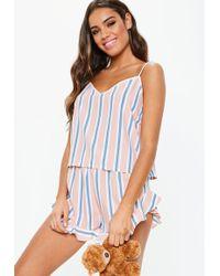 Missguided Pink Stripe Woven Cami Pyjama Set