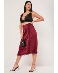 Missguided Plus Size Burgundy Lace Trim Satin Slip Skirt - Red