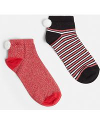 Missguided - Red 2 Pack Christmas Bah Humbug Ankle Socks - Lyst