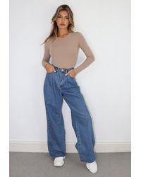Missguided Pleat Detail Wide Leg Jeans - Blue