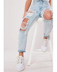Missguided Blue Wash Vintage Distress Mom Jeans