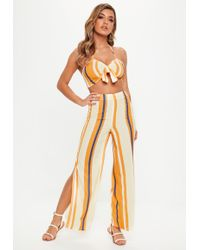 ecdefe8626 Missguided - Orange Striped Tie Front Strappy Co Ord - Lyst