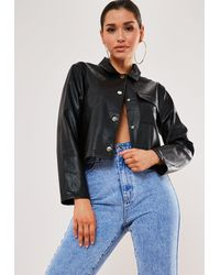 Missguided Mock Croc Texture Faux Leather Shirt - Black