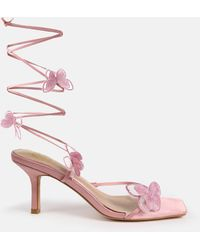 Missguided Pink Butterfly Embroidered Mid Heel Sandals