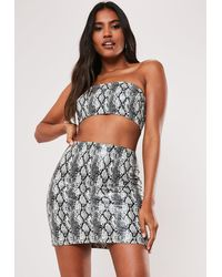 Missguided White Snake Print Co Ord Faux Leather Bandeau Bralet