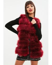 Missguided - Red Faux Fur Pelted Gilet - Lyst
