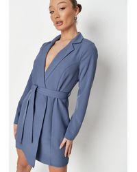 Missguided Blue Basic Wrap Blazer Dress