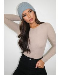 Missguided Mint Cable Knit Beanie Hat - Multicolor