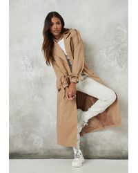 Missguided Camel Oversized Trench Coat - Natural