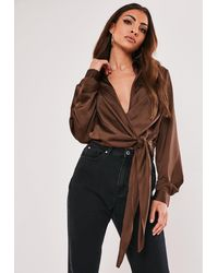 Missguided Tall Brown Satin Wrap Plunge Blouse