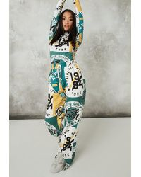Missguided Multi Brooklyn Graphic Straight Leg Joggers - Yellow
