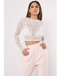 245f7af797bf8 Lyst - Missguided Lace Long Sleeve Scalloped Crop Top Navy in Blue