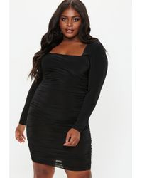 Missguided - Plus Size Black Square Neck Midi Dress - Lyst