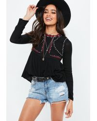 Missguided - Black Crew Neck Embroidered Blouse - Lyst