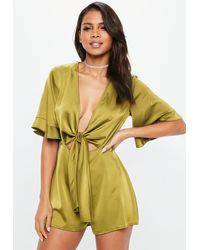 Missguided Chartreuse Tie Front Kimono Sleeve Romper - Yellow