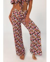 Missguided Floral Print Beach Cover Up Pants - Purple