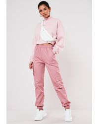 Missguided Pink Cargo Sweatpants