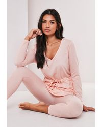 Missguided Blush Tie Waist Pyjama Set - Pink