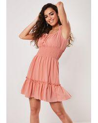 Missguided Coral Shirred Waist Bardot Mini Dress - Pink