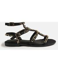 Missguided Chain Gladiator Sandals - Black