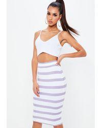 Missguided - Purple Stripe Midi Skirt - Lyst