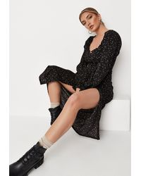 Missguided Disty Floral Button Through Milkmaid Midi Dress - Black
