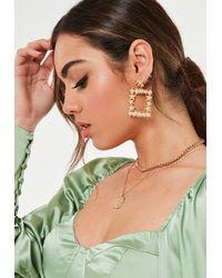 Missguided Look Rectangle Flower Earrings - Metallic