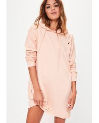 Missguided | Ripped Hooded Jumper Dress Nude | Lyst