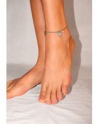 Missguided Look Diamante Butterfly Drop Anklet - Metallic