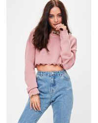 Missguided - Pink Distressed Cropped Sweater - Lyst
