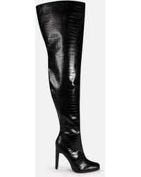 Missguided Croc Effect Illusion Heel Over The Knee Boots - Black