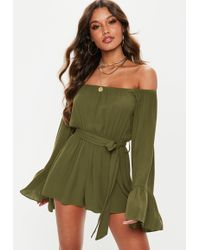 a19a5f0b443 Missguided Khaki Satin Embroidered Wrap Playsuit - Lyst