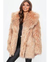 Missguided - Blush Tipped Premium Faux Fur Collar Coat - Lyst
